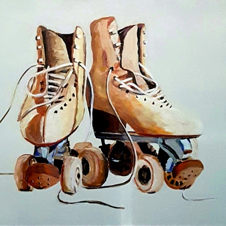 (CreativeWork) Skate On by Rob Sinclair. Acrylic Paint. Shop online at Bluethumb.