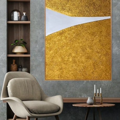 (CreativeWork) Madison _  Large framed abstract textured gold and white art by Josephine Ann Pitsiava. Mixed Media. Shop online at Bluethumb.