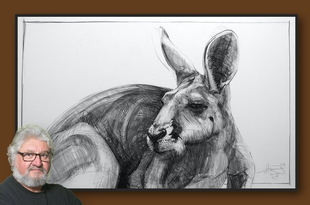 (CreativeWork) Portrait of Kangaroo No. 44 by Michael Chorney. Drawing. Shop online at Bluethumb.