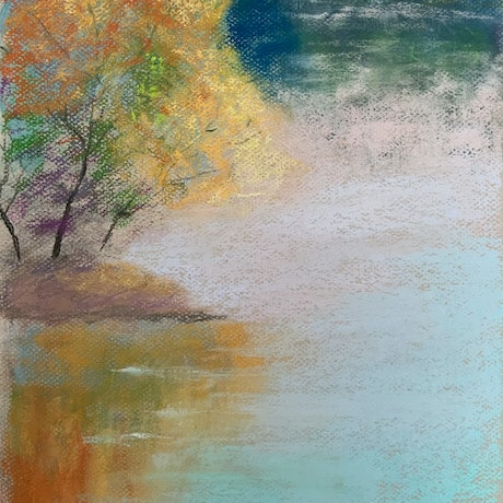 (CreativeWork) Picnic Day - Autumn Trees painting 28 x 36 cm by Jessica Davidson. Other Media. Shop online at Bluethumb.