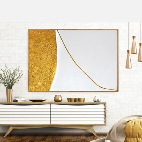 (CreativeWork) Harper _  Large framed abstract contemporary minimalist gold and white textured art by Josephine Ann Pitsiava. Mixed Media. Shop online at Bluethumb.