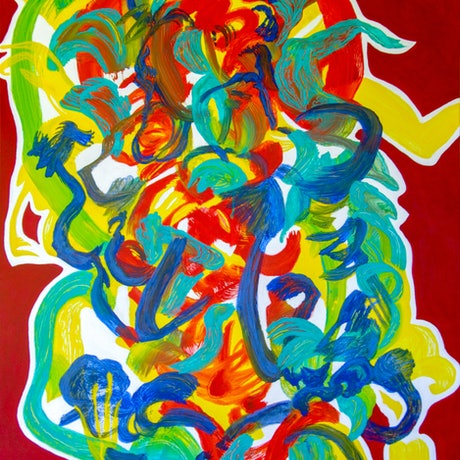 (CreativeWork) Red Flower Dance by Josephine Window. Acrylic Paint. Shop online at Bluethumb.
