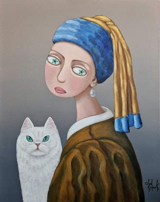 Surrealistic portrait of girl with cat, after Vermeer
