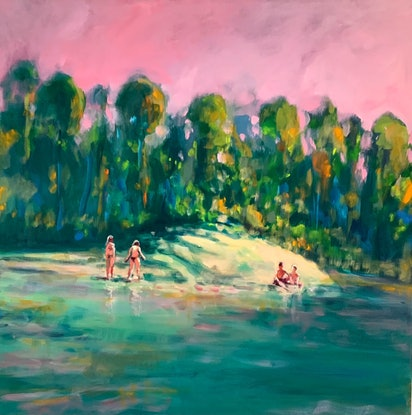 (CreativeWork) Pink Hours (A) by Sara Roberts. Oil Paint. Shop online at Bluethumb.