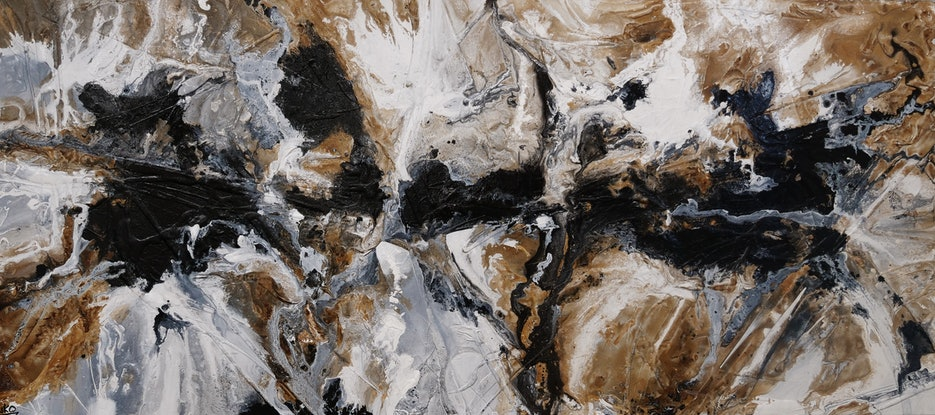 (CreativeWork) Peppered Raw 270cm x 120cm Black Rust White Abstract Textured Acrylic Gloss Finish FRANKO by _Franko _. Acrylic Paint. Shop online at Bluethumb.