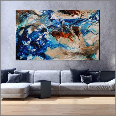 (CreativeWork) Drifting Grace 250cm x 150cm Blue Cream Abstract Textured Acrylic Gloss Finish FRANKO by _Franko _. Acrylic Paint. Shop online at Bluethumb.