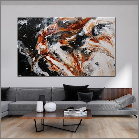(CreativeWork) Peppered Oxide 250cm x 150cm Oxide White Black Abstract Textured Acrylic Gloss Finish FRANKO by _Franko _. Acrylic Paint. Shop online at Bluethumb.