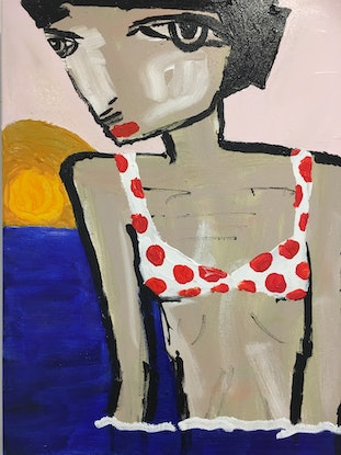(CreativeWork) Summer siesta of months past.  by Kate Rogers. Acrylic. Shop online at Bluethumb.