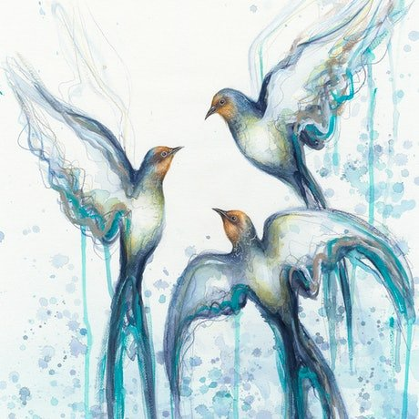 (CreativeWork) Flight of the Swallows (Ltd Ed Print on Paper, A2 Preorder - 1 of 25) - Duplicate Ed. 1 of 25 by Leni Kae. Print. Shop online at Bluethumb.