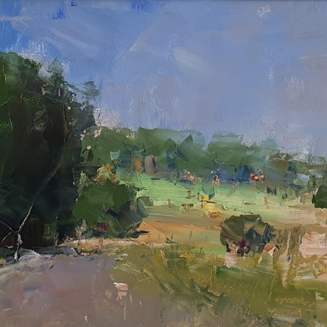 (CreativeWork) Fingerboard road, Dayboro  by Minhan Cho. Oil Paint. Shop online at Bluethumb.