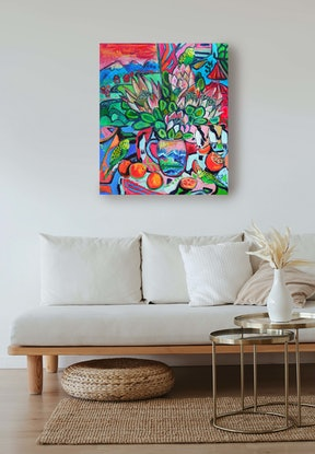 (CreativeWork) Still Life with King Proteas and Penguins by Katerina Apale. Oil Paint. Shop online at Bluethumb.