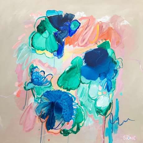 (CreativeWork) IN BLOOM - COLOURFUL ABSTRACT by Belinda Stone. Acrylic Paint. Shop online at Bluethumb.