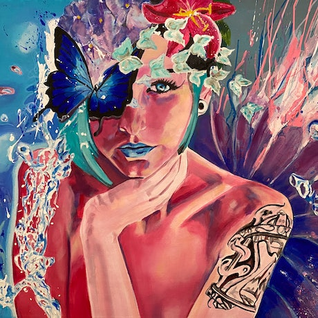 gorgeous girl with blue lips with butterflies and flowers in hair and wings
