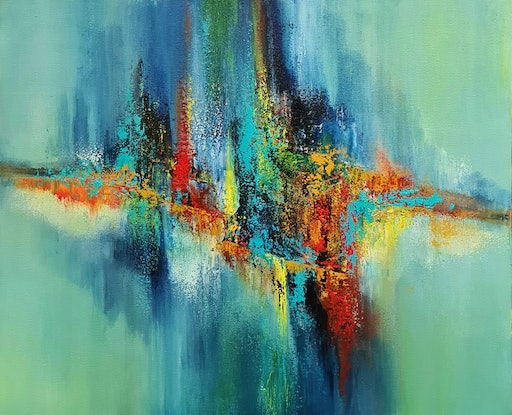Textured Colourful Abstract Multi-coloured Impression