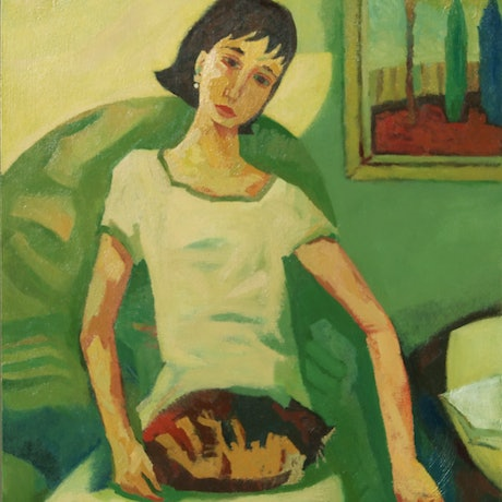 (CreativeWork) Girl in Green Chair by Tetyana Khytko. Oil Paint. Shop online at Bluethumb.
