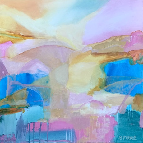 (CreativeWork) SHORE BEYOND   - ABSTRACT LANDSCAPE by Belinda Stone. Acrylic Paint. Shop online at Bluethumb.