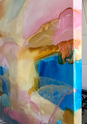 (CreativeWork) SHORE BEYOND   - ABSTRACT LANDSCAPE by Belinda Stone. Acrylic. Shop online at Bluethumb.