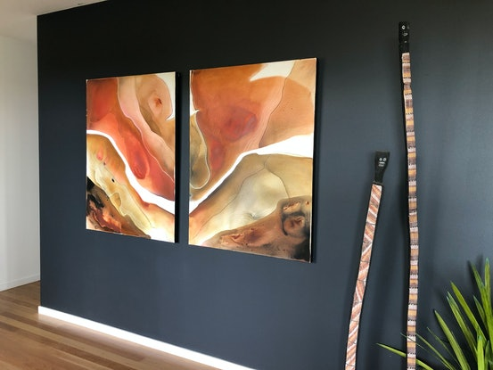(CreativeWork) Desert Rose (diptych) by Dinah Wakefield. Acrylic Paint. Shop online at Bluethumb.