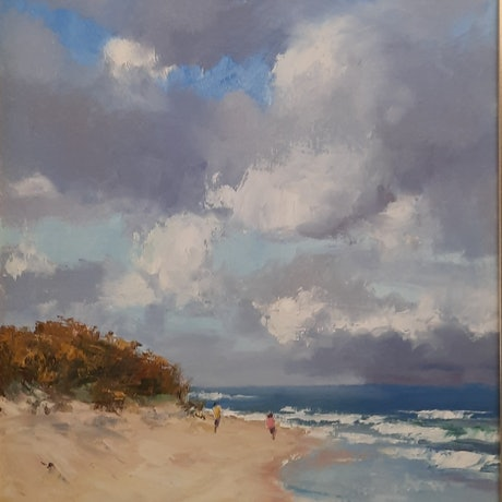 (CreativeWork) Stormy Skies over Currimundi Beach. Qld by Barry Back. Oil Paint. Shop online at Bluethumb.