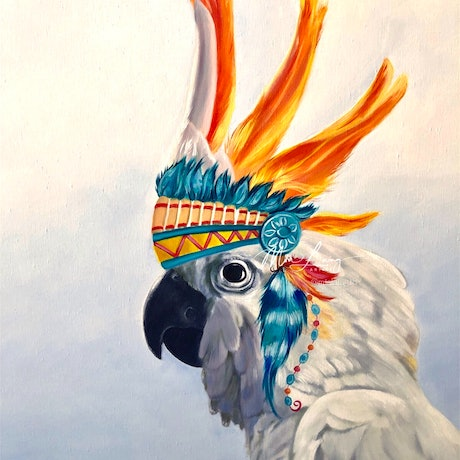 (CreativeWork) Chief - original oil painting by Mia Laing. Oil Paint. Shop online at Bluethumb.