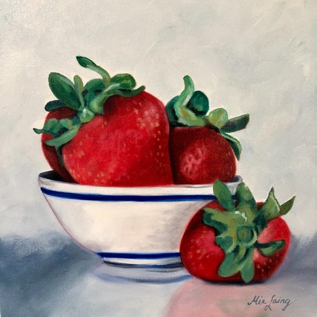 (CreativeWork) Can't Get Enough  by Mia Laing. Oil Paint. Shop online at Bluethumb.