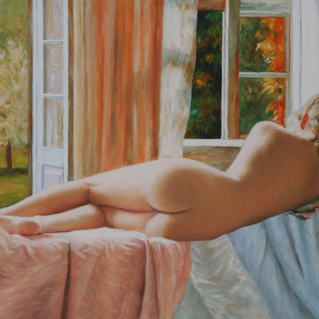 (CreativeWork) Tanya Relaxing by Craig Taylor. Oil Paint. Shop online at Bluethumb.