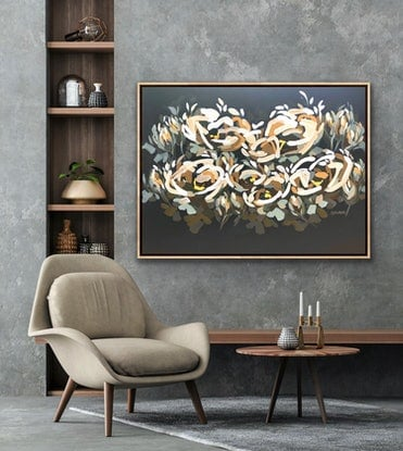 (CreativeWork) Forever You - Large Textured Abstract Flowers 120x90cm by Jen Shewring. Acrylic. Shop online at Bluethumb.