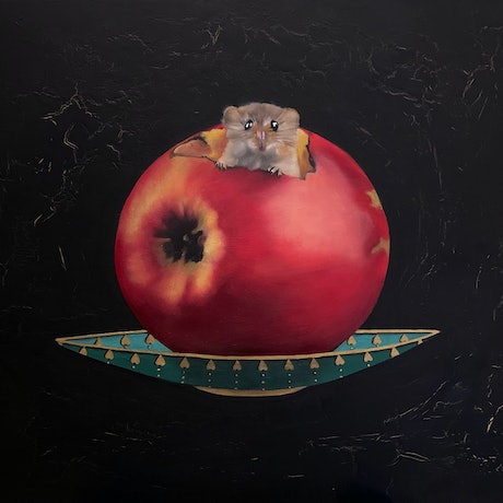 """(CreativeWork) """"It's a Red Delicious!"""" by Gerlinde Thomas. Oil. Shop online at Bluethumb."""
