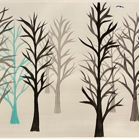 (CreativeWork) Snowy Forest Watercolour Winter Trees Black Grey Turquoise by Debra Ryan. Watercolour Paint. Shop online at Bluethumb.