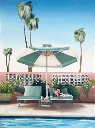 (CreativeWork) Palm Springs - Vacation - Framed by Chris Riley. Acrylic Paint. Shop online at Bluethumb.