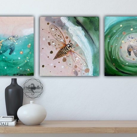 (CreativeWork) Close to Extinction Light set of 3  - Sea Turtle  and Cicada Green Pink Ocean Wave Beach Animals - SUPPORT WWF set of 3 ARTWORKS 30X30CM EACH  by Marie Antuanelle. Mixed Media. Shop online at Bluethumb.