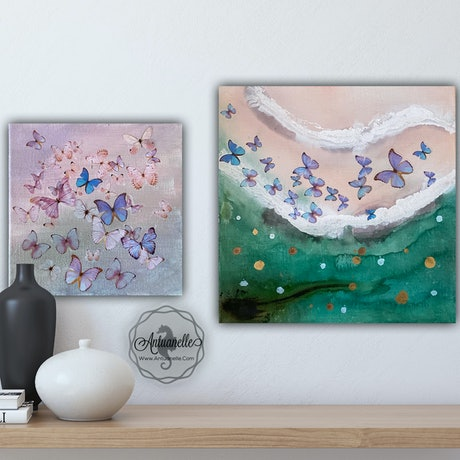 (CreativeWork) Butterflies Sky & Sea - Blue and Pink Butterflies on ocean Abstract  Green  Pink Blue  Wave Beach  - Original Artworks set of 2 by Marie Antuanelle. Mixed Media. Shop online at Bluethumb.