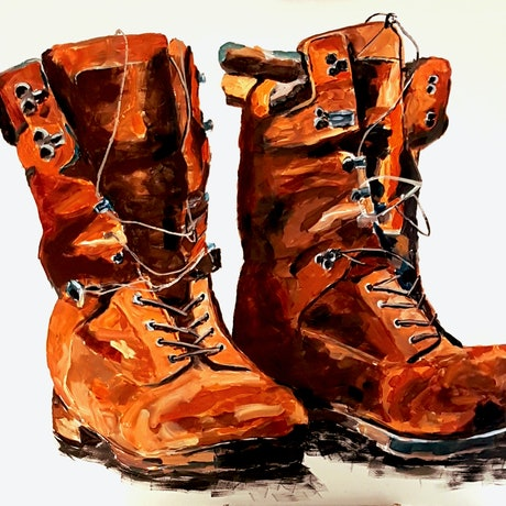 (CreativeWork) Boots are made for Working. by Rob Sinclair. Acrylic Paint. Shop online at Bluethumb.
