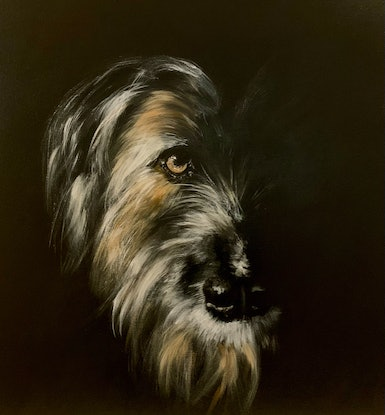 A very moody and atmospheric portrait of a enigmatic dog