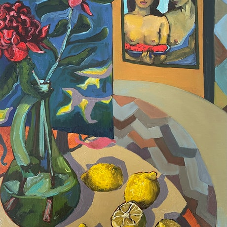 On the table there is a green transparent vase with two bright red waratah flowers, lemons on the table cloth, with a small painting of Paul Gauguin in the background (two women looking in on the scene)
