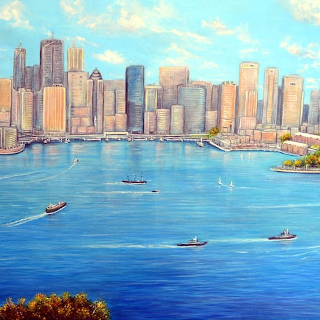 (CreativeWork) Sydney Harbour View by Linda Callaghan. Acrylic Paint. Shop online at Bluethumb.