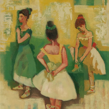 (CreativeWork) The Ballet Class by Tetyana Khytko. Oil Paint. Shop online at Bluethumb.