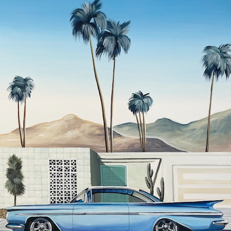 (CreativeWork) Palm Springs - Baby Blue 59 Impala - Framed  by Chris Riley. Acrylic Paint. Shop online at Bluethumb.