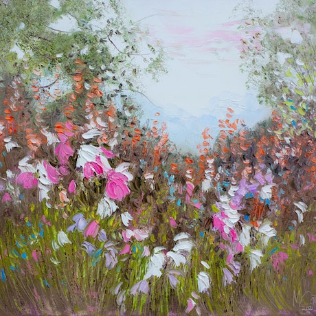 (CreativeWork) Wildflowers by Michael Cartwright. Oil Paint. Shop online at Bluethumb.