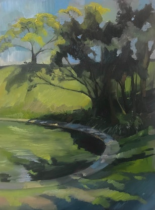 (CreativeWork) Water & Sky by Colleen Stapleton. Oil Paint. Shop online at Bluethumb.