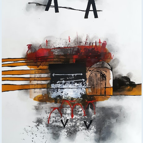 (CreativeWork) COMPOSITION NO. 285 TWO ARROWS by G Kustom Kuhl. Mixed Media. Shop online at Bluethumb.