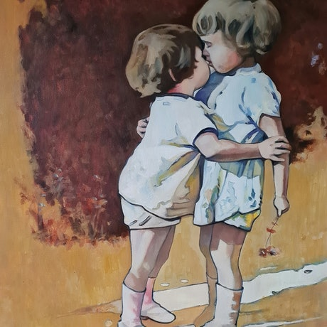 (CreativeWork) First Kiss by Sherry McCourt. Oil Paint. Shop online at Bluethumb.