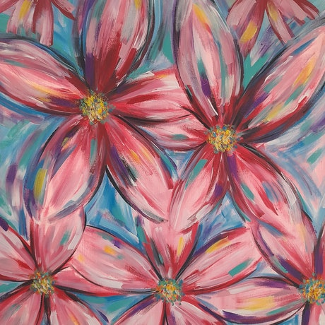 (CreativeWork) The Daisy  Chain by Rachael Charalambous. Acrylic Paint. Shop online at Bluethumb.
