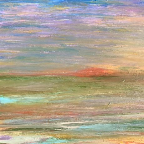 Colourful mountain country landscape sunset