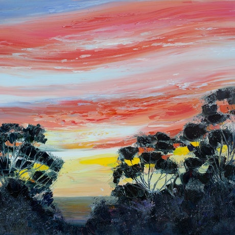 (CreativeWork) Sunset Orange by Michael Cartwright. Oil Paint. Shop online at Bluethumb.