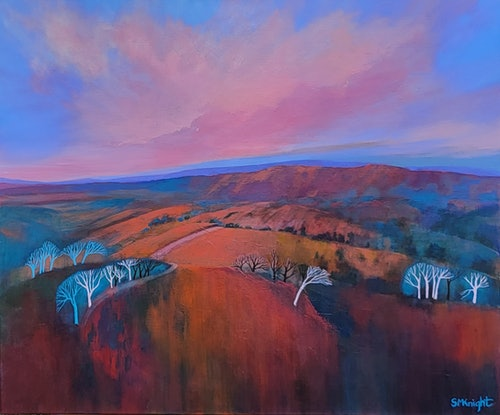 (CreativeWork) Outback Treetops at Dusk by Sandra Michele Knight. Acrylic. Shop online at Bluethumb.