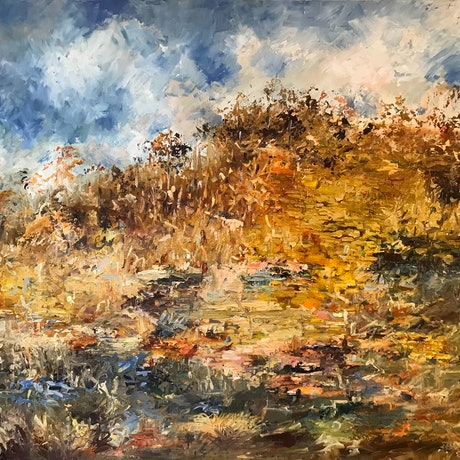 (CreativeWork) Australia -  I Love A Sunburnt Country - Framed by Maria Cross. Oil Paint. Shop online at Bluethumb.