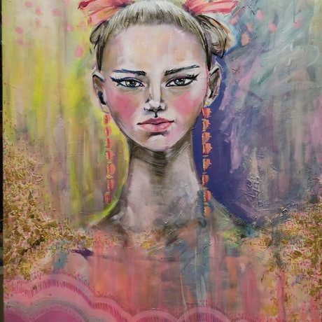 (CreativeWork) Alice and ballet's ball by Luisa Manea. Acrylic. Shop online at Bluethumb.