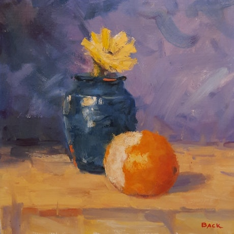 (CreativeWork) Blue and Orange by Barry Back. Oil Paint. Shop online at Bluethumb.