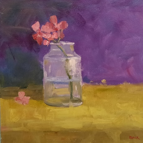 (CreativeWork) Flower and Water by Barry Back. Oil Paint. Shop online at Bluethumb.
